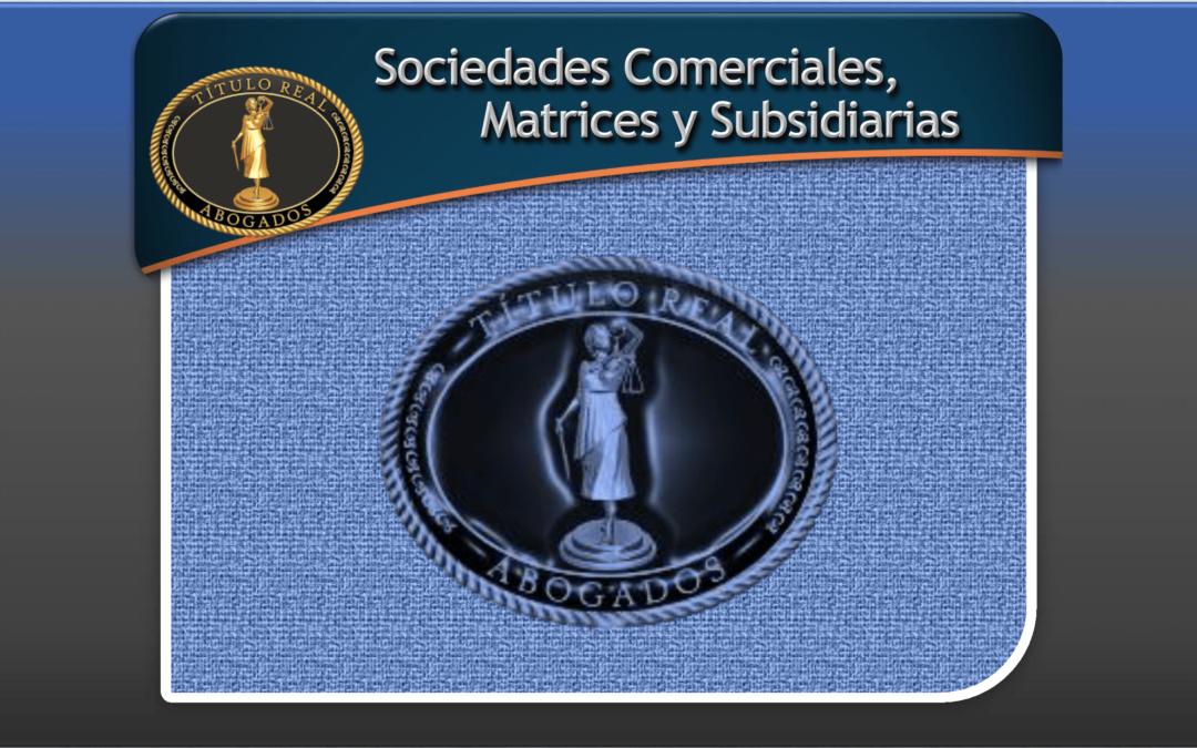 CONFORMACIÓN, TRANSFORMACIÓN, DISOLUCIÓN y LIQUIDACIÓN de SOCIEDADES COMERCIALES, MATRICES y SUBSIDIARIAS
